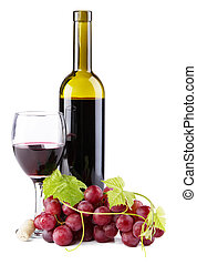 Bottle of red wine, isolated on white background