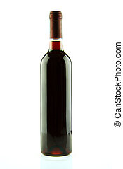 Bottle of red wine isolated