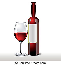 Bottle of red wine with a glass