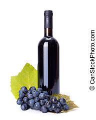 Bottle of red wine with blue grape cluster on white ...