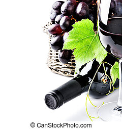 Bottle of red wine with fresh grape - Bottle of red wine...