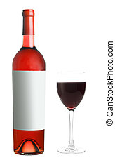 Bottle of red wine with glass on white background