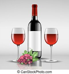 bottle of red wine with glass
