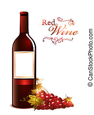 bottle of red wine with grape - bottle of red wine with red...