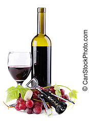 Bottle of red wine with grapes