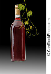 bottle of red wine with vine