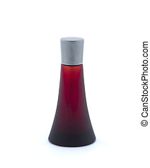Bottle of scent on white background