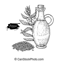 Bottle of sesame oil with plant. Vector Hand drawn...