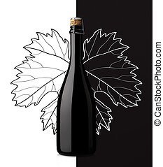 sparkling wine with grape leaf on white and black background