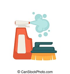 Bottle of spray cleaner and brush with handle - Bottle of...