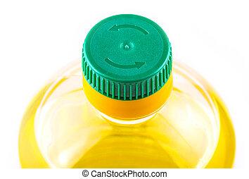 Bottle of sunflower oil isolated on white