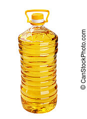 Bottle of sunflower oil on a white background it is isolated