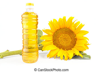 Bottle of sunflower oil with flower isolated on white background