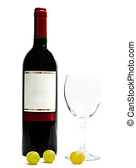 red wine with wineglasses and grape