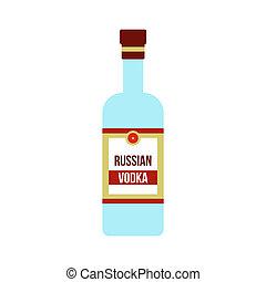 Bottle of vodka icon, flat style