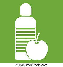 Bottle of water and apple icon green