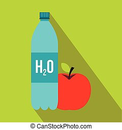 Bottle of water and red apple icon, flat style