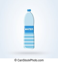 Bottle of water flat style. Vector illustration icon isolated on white background