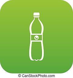 Bottle of water icon digital green