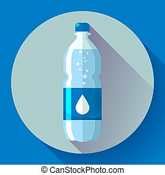 Bottle of water icon in flat style on blue background Vector illustration.