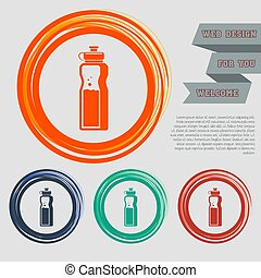 bottle of water icon on the red, blue, green, orange buttons for your website and design with space text. Vector