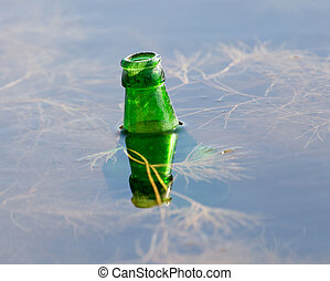 bottle of water in the lake