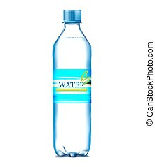 bottle of water on a blue background. Vector illustration