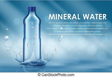 Bottle of water splash on a blue background. Vector illustration