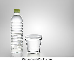 Bottle of water with glass
