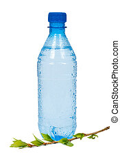 Bottle of water with green branch