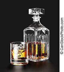 Bottle of whiskey and ice in glass on black background