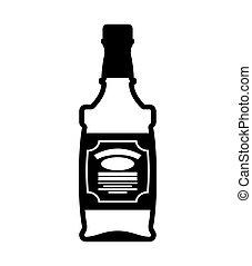 Bottle of whiskey. Bourbon isolated. Tequila on white background