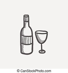 Bottle of whisky and a glass sketch icon
