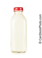 Bottle of white milk - Isolated glass bottle of nutritious...