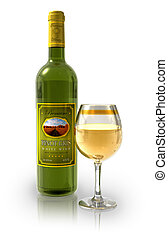 Bottle of white wine and full crystal goblet isolated on...