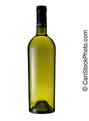 Bottle of white wine isolated with clipping path