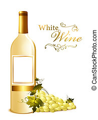 bottle of white wine with grape