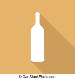 bottle of wine and a glass icon on long shadow
