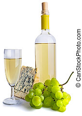 Bottle of wine and filled glass with cheese and white grapes