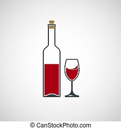 Bottle of wine and glass.