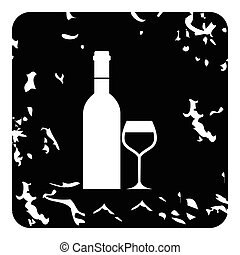 Bottle of wine and glass icon, grunge style