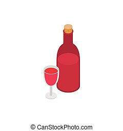 Bottle of wine and glass isometric 3d icon