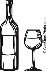 bottle of wine and glass (wine glass and bottle)