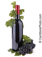bottle of wine and grapes with leaves