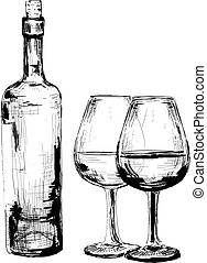 Bottle of wine and two glasses. Set of illustration