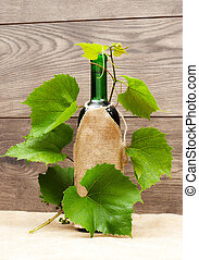 bottle of wine and vine