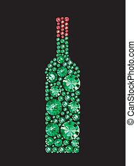 Bottle Of Wine - Bottle of wine made of gems