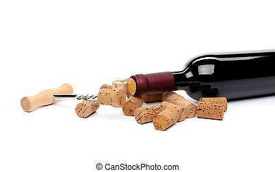 A bottle of wine, corks and corkscrew isolated on the white background.