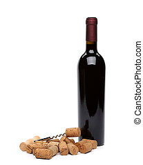 bottle of wine, corks and corkscrew. - bottle of wine, corks...