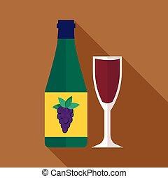 Bottle of wine icon, flat style